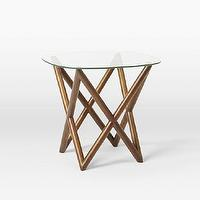 Tables - Spindle Side Table | West Elm - geometric based side table, mid century style side table, mid century danish side table, geometric wood side table,