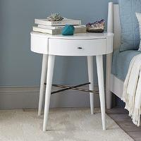 Tables - Penelope Nightstand Large (White) | West Elm - round white nightstand, mid century style nightstand, white single drawer nightstand, white nightstand with tapered legs, mid century style nightstand,