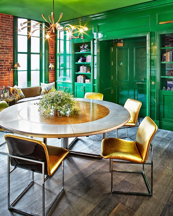 Green Lacquered Walls Eclectic Den Library Office