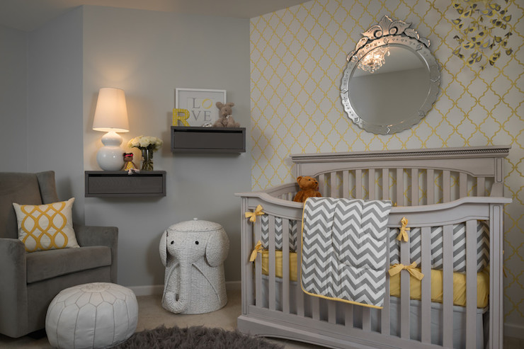 Beckwith Interiors - nurseries - Porters Paint - Fog - West Elm Graham Glider, Elephant Hamper, yellow and gray nursery, boy nursery, boys nursery, gray paint, gray pint colors, gray floating shelf, floating shelf, nursery shelf, nursery shelves, gray nursery shelf, gray glider, gray nursery glider, wingback glider, gray wingback glider, gray velvet glider, elephant hamper, woven elephant hamper, gray shag rug, gray crib, grey nursery crib, chevron crib bedding, yellow and gray crib bedding, round venetian mirror, mirror over crib, above the crib mirror, over the crib mirror, nursery accent wall, accent wall nursery, trellis wallpaper, yellow trellis wallpaper, yellow and gray mobile, yellow and gray crib mobile, yellow and gray nursery mobile,