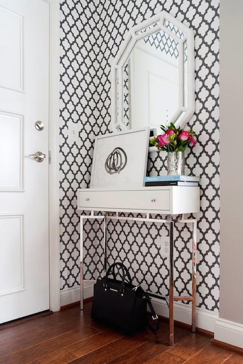 Black and White Moroccan Wallpaper, Contemporary, entrance/foyer, JWS Interiors