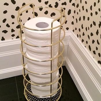 The World According to Jessica Claire - bathrooms - thibaut wallpaper, black and cream wallpaper, brass toilet paper holder, round toilet paper holder,