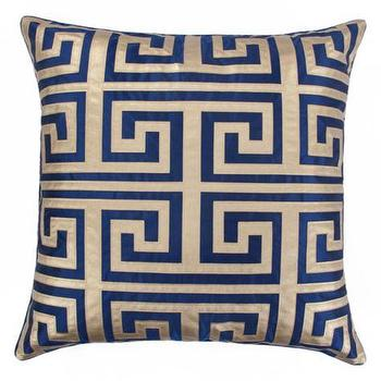 Pillows - Mykonos Pillow I Z Gallerie - blue and gold greek key pillow, navy and gold greek key pillow, navy and gold geometric pillow,