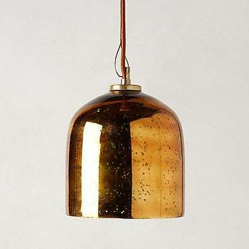 Lighting - Burnished Pendant Lamp I anthropologie.com - copper colored glass pendant, dome shaped copper colored pendant, dome shaped copper glass pendant,