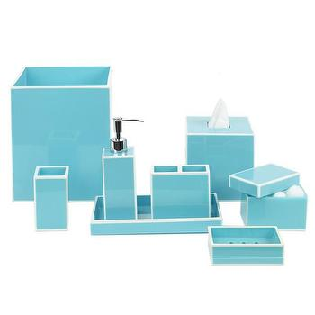 Bath - DwellStudio Modern Border Azure Bath Accessories | DwellStudio - turquoise lacquered bath accessories, glossy turquoise bath accessories, turquoise wastebasket, turquoise bath tray, turquoise soap dispenser, turquoise tissue box cover, turquoise and white bath accessories,