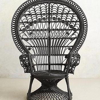 Seating - Reina Chair I anthropologie.com - black rattan chair, black peacock chair, black oriental rattan chair,