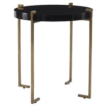 Tables - DwellStudio Dylan Side Table | DwellStudio - gold and black side table, modern round black side table, gold based side table, round black gold side table,