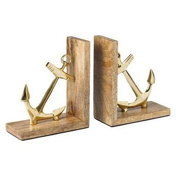 Decor/Accessories - Threshold Anchor Bookends - Gold I Target - anchor bookends, gold anchor bookends, wooden gold anchor bookends, nautical bookends,