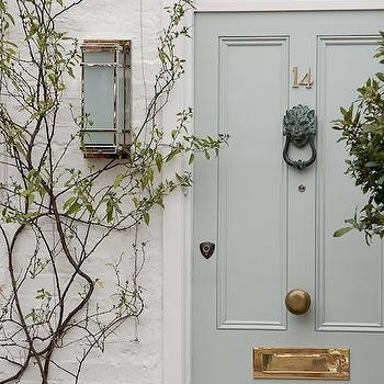 Gray Front Door, Transitional, home exterior, Sarah Berry