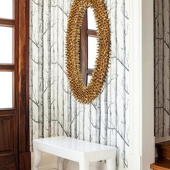 Jennifer Worts Design - entrances/foyers - gold leafed mirror, oval mirror, foyer mirror, entry mirror, fold foyer mirror, spores mirror, gold spores mirror, gold leaf spores mirror, white bench, foyer bench, entry bench, black border tiles,