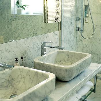 Colin Radcliffe - bathrooms - marble bath, marble bathroom, ceiling height marble, marble backsplash, marble sinks, marble vanity sinks, marble vessels inks, waterfall faucets, marble washstand, marble vanity,