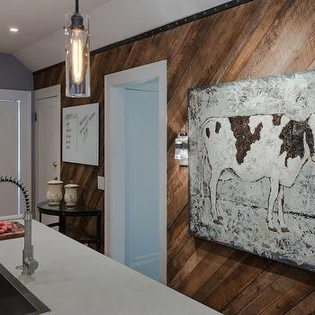 Beckwith Interiors - kitchens - diagonal paneling, diagonal wall panels, diagonal wood panels, diagonal wood paneling, cow art, island sink, kitchen island sink, column light pendants,