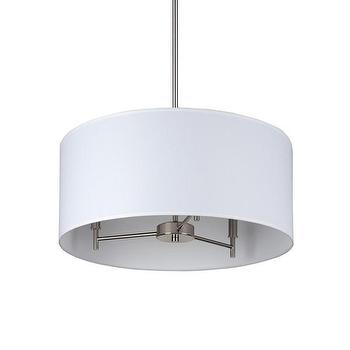 Lighting - DwellStudio Tambour Pendant | DwellStudio - white drum pendant, modern drum pendant, nickel drum pendant,