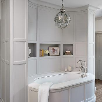 Caden Design Group - bathrooms - bathtub nook, gray paneled bathtub, oval bathtub, gray oval bathtub, freestanding bathtub, oval freestanding bathtub, restoration hardware chandelier, bathroom paneling, gray bathroom paneling,