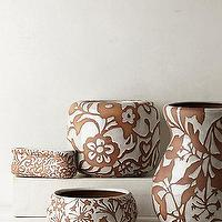 Decor/Accessories - Fresco Garden Pot I anthropologie.com - white flower patterned pot, white earthenware pot, flower patterned earthenware pot,
