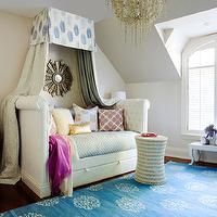 Jennifer Worts Design - girl's rooms - daybed, white daybed, tufted daybed, white tufted daybed, rolled arm daybed, roll arm daybed, daybed canopy, daybed curtains, daybed drapes, daybed curtains, daybed drapes, gold sunburst mirror, mandala rug,