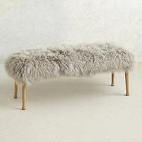 Seating - Luxe Fur Bench I anthropologie.com - gray fur bench, gray monogolian wool bench, gray mongolian sheepskin bench, fluffy gray bench,