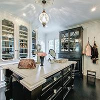Abbott Moon - closets - gorgeous closets, walk in closets, black and white closets, closet islands, black closet island, closet island with legs, closet island legs, black armoire, glass door armoire, floor to ceiling wardrobes, glass door wardrobe, glass front wardrobe, door moldings,