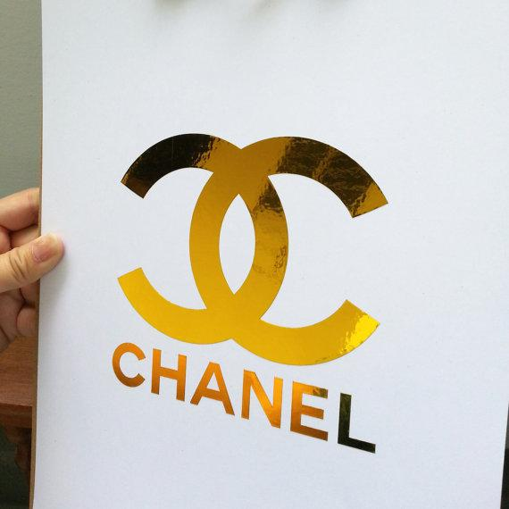 CHANEL Gold Foil CC Monogram Logo Art Print by
