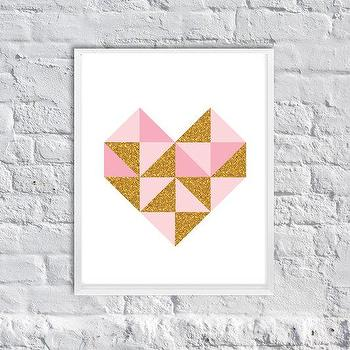 Art/Wall Decor - Geometric Glittering Heart Art Print Girly by SubloadTravellers I Etsy - pink and gold heart art, pink and gold glitter heart print, pink and gold glittered heart art,
