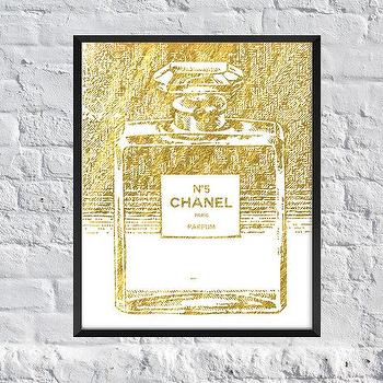 Art/Wall Decor - Chanel Perfume Gold Foil Inspire Art Print by SubloadTravellers I Etsy - gold chanel art, gold chanel bottle art, gold chanel perfume art, chanel perfume bottle art print,