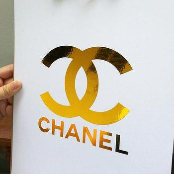 Art/Wall Decor - CHANEL Gold Foil CC Monogram Logo Art Print by SubloadTravellers I Etsy - gold chanel logo, chanel logo art print, metallic gold chanel logo art,
