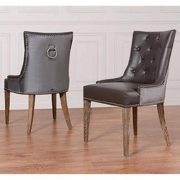 Seating - Uptown Leather/ Velvet Dining Chair (Set of 2) | Overstock.com - brown leather velvet dining chair, brown tufted leather dining chair, brown velvet tufted dining chair, brown tufted dining chair, brown tufted dining chair with nailhead trim,