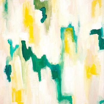 Art/Wall Decor - Vian Giclee Abstract Print from Original by ParimaCreativeStudio I Etsy - teal and yellow art, teal and yellow abstract art, teal and yellow abstract print,