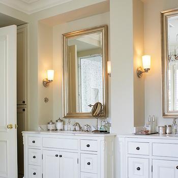 Kimberley Seldon Design Group - bathrooms - footed vanity, footed washstand, french washstand, french vanity, footed french vanity, footed french washstand, french footed vanity, french footed washstand, m marble floor, marble herringbone accent tiles, his and her washstands, his and her vanities, silver leaf mirror, beveled mirror, silver leaf beveled mirror, silver leafed beveled mirror,