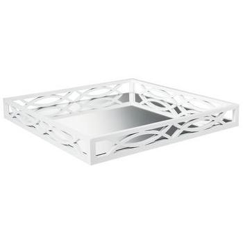 Decor/Accessories - Threshold Mirrored Tray - White I Target - white mirrored tray, white fretwork tray, white mirrored bar tray, white fretwork mirrored tray,