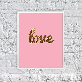 Art/Wall Decor - Love Glittering Art Print Girly Art Print by SubloadTravellers I Etsy - pink and gold love art, gold glitter love art print, pink and gold glittered love art,
