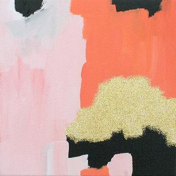 Pink Coral Gold abstract painting Small by ParimaCreativeStudio I Etsy