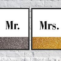 Art/Wall Decor - Mr & Mrs Art Print Set of 2 The Great Gatsby by SubloadTravellers I Etsy - mr and mrs art print set, mr and mrs gold and silver print, mr mrs metallic print, mr mrs gold and silver print, mr and mrs art print,
