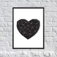 Art/Wall Decor - Geometric Heart Art Print Black and White by SubloadTravellers I Etsy - geometric heart, geometric heart art, geometric black heart art print, modern heart art print, black modern heart art,