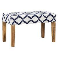 Seating - Threshold Woven Wood Bench - Navy/Cream I Target - navy and white bench, navy and white woven bench, navy and white geometric bench,