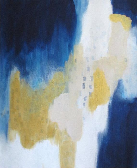 Gold Blue 16x20in Original Abstract By