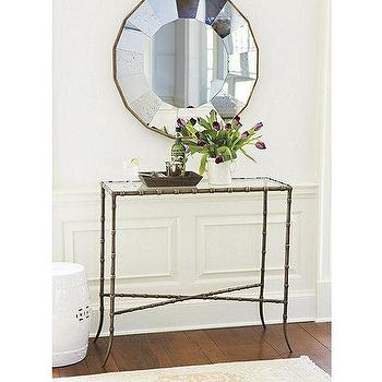 Storage Furniture - Elsie Console | Ballard Designs - antiqued gold console table, gold glass topped console table, gold faux bamboo console, faux bamboo console table,