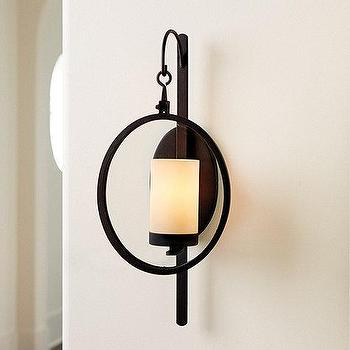 Lighting - Orsin Wall Sconce | Ballard Designs - round iron wall sconce, industrial iron wall sconce, round industrial wall sconce,