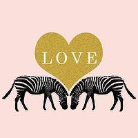Art/Wall Decor - Zebra Love Illustration Print Animal Print by ParimaCreativeStudio I Etsy - pink zebra print, pink zebra love print, pink zebra gold love art, pink zebra art print,