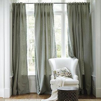 Window Treatments - Beaulieu Ruffled Edge Panel | Ballard Designs - gray linen drapes, ruffled linen drapes, ruffled gray linen drapes, fringed gray linen drapes, feathered gray linen drapes, fringed gray linen curtains, ruffled gray linen curtains,