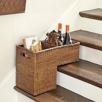 Decor/Accessories - Step Basket  I Ballard Designs - rattan step basket, rattan stair basket, rattan stairway basket,