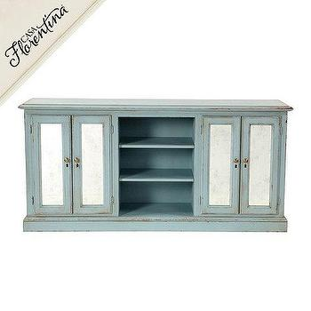Storage Furniture - Sorrento Console with Antique Mirror | Ballard Designs - distressed blue console, duck egg blue console, distressed duck egg blue console, duck egg blue media console,