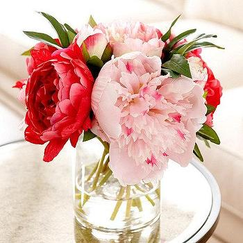 Decor/Accessories - Spring Peony Floral | Ballard Designs - pink faux peonies, pink peony in glass vase, pink life like peonies, faux pink peonies in glass vase,