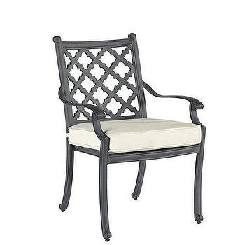 Seating - Set of 2 Maison Dining Armchairs | Ballard Designs - zinc finished outdoor armchair, lattice backed outdoor armchair, mediterranean outdoor armchair,
