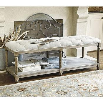 Seating - Saverne Tufted Bench | Ballard Designs - tufted linen bench, graywashed tufted bench, button tufted linen bench, linen tufted bench with shelf,