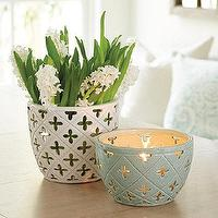 Decor/Accessories - Jillian Pot | Ballard Designs - celadon candle holder, pierced blue candle holder, pierced white candle holder, white quatrefoil pot, blue quatrefoil pot,