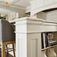 Close-up shot of kitchen island with built-in cookbook shelf painted Benjamin ...