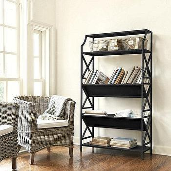 Storage Furniture - Tall Librarie Bookshelf | Ballard Designs - black library bookshelf, black bookcase, black antique style bookcase, black vintage style bookcase,