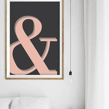 Art/Wall Decor - Nursery Art Print Peach Ombre Ampersand Dorm by alphonnsine I Etsy - ampersand wall art, black and pink ampersand art, ombre ampersand art print,