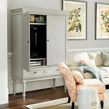 Storage Furniture - Marais Media Armoire | Ballard Designs - gray media armoire, gray media cabinet, french media cabinet, dove gray media cabinet, dove gray media armoire,